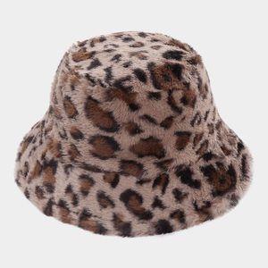 Animal Print Faux Fur Bucket Hat